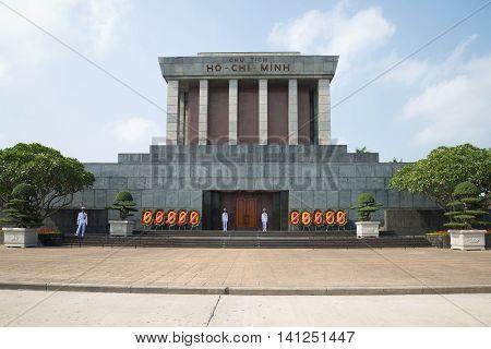 HANOI, VIETNAM - JANUARY 10, 2016: Ho Chi Minh mausoleum, sunny day. Historical landmark of the city Hanoi, Vietnam