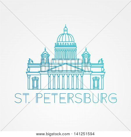 Saint Isaac's Cathedral in Saint Petersburg Russia. Modern linear minimalist icon. One line sightseeing concept