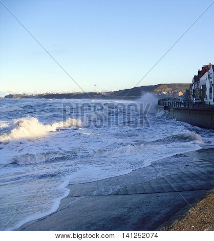 Waves at Sandseand Near Whitby in North Yorkshire