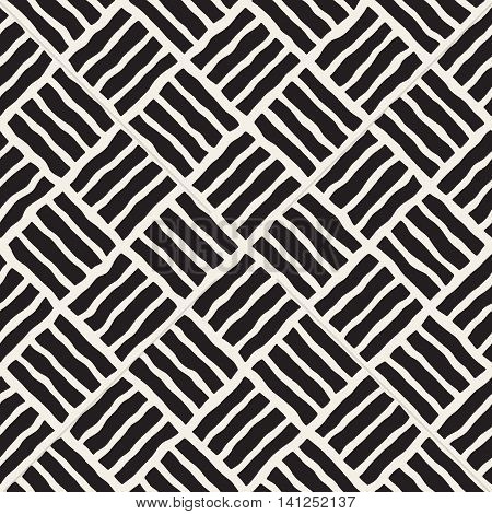 Vector Seamless Black And White Hand Drawn Pavement Diagonal Lines Pattern. Abstract Freehand Background Design