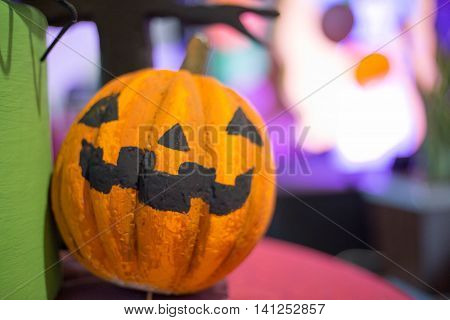 Halloween pumpkin head jack lantern for background design