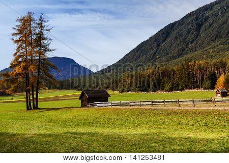 Autumn rural scenery of Mieminger Plateau austrian landscape Austria Europe Tyrol.