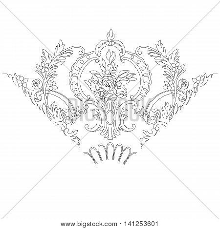 Black and white floral vintage baroque triangular ornamental pattern, royal pattern, decor pattern, classical pattern, damask pattern, triangle pattern, oriental vintage, border vintage, retro vintage, floral vintage. Vector.