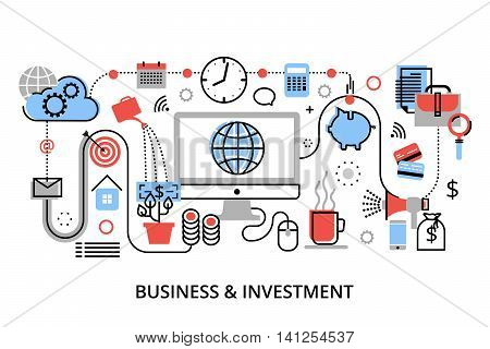 Modern flat thin line design vector illustration infographic concept of investment process stock market and internet business for graphic and web design