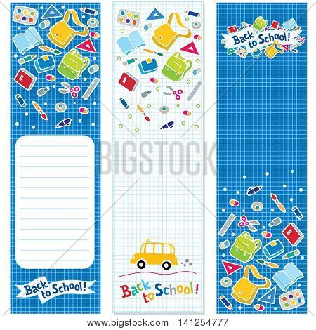 Three vertical vector banners or bookmarks with logo or lettering Back to School and education supplies illustration on a checkered background like in the school notebook. With place for text.