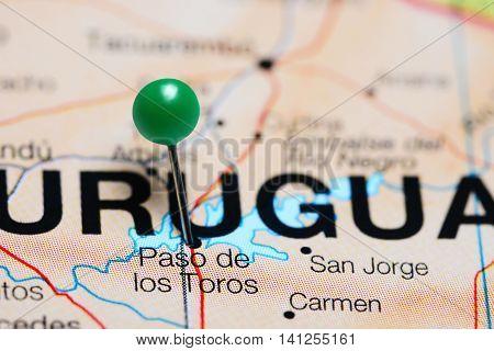 Paso de los Toros pinned on a map of Uruguay
