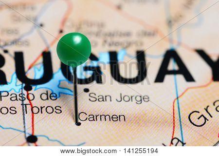 Carmen pinned on a map of Uruguay