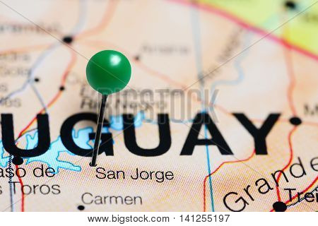 San Jorge pinned on a map of Uruguay