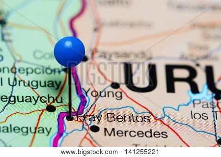 Fray Bentos pinned on a map of Uruguay