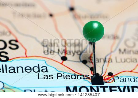 Las Piedras pinned on a map of Uruguay