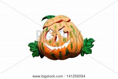 Halloween Pumpkin funny Jack O'Lantern on white background