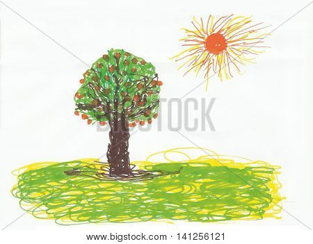 tree and sun on a white background childlike