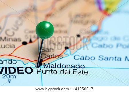 Punta del Este pinned on a map of Uruguay