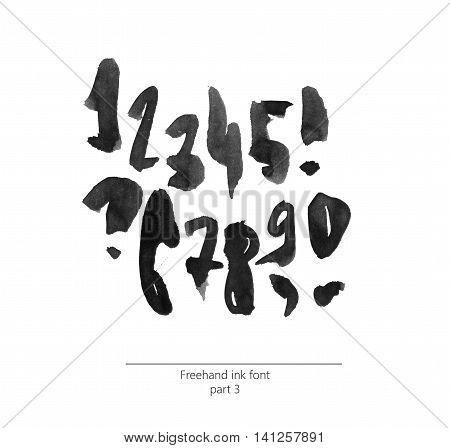 Hand drawn with liquid black ink and brush freehand alphabet part 3. Stylish numbers can be used for lettering and quote design. Grainy bold digits isolated on white background