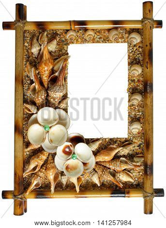 Photoframework frame from sea cockleshells and pearls.