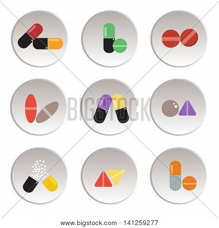 The tablet and capsule colorfulmedicine medical on white backgroundcapsules icon.