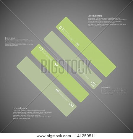 Rhombus Illustration Template Consists Of Four Green Parts On Dark Background