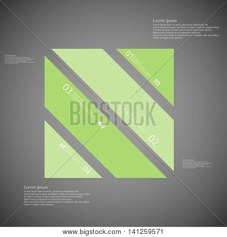 Square Illustration Template Consists Of Four Green Parts On Dark Background