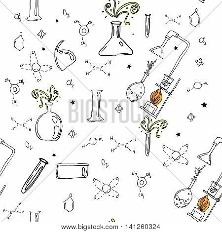 seamless pattern with hand drawn glass flasks. Uncolored bottles. Chemistry pattern.Back to school