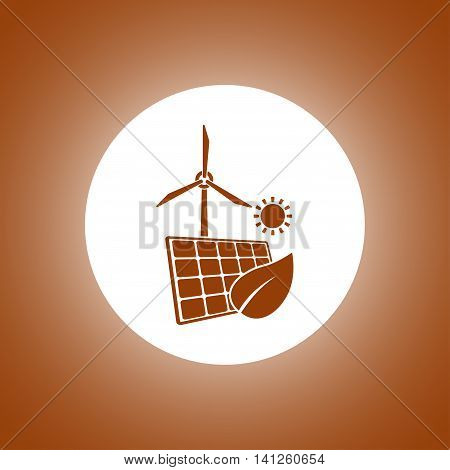Solar Panel Icon And Wind Turbine Icon.