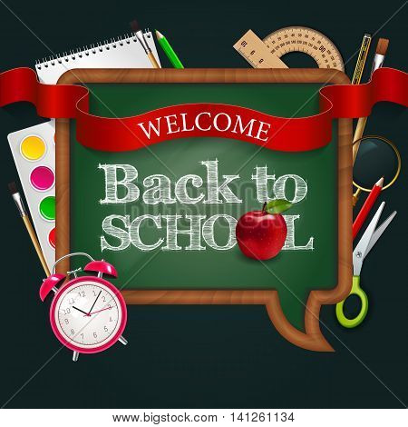 Welcome Back To School, Blackboard Speak Bubble With Ribbon, Red Apple, Alarm Watch And Colorful Sch