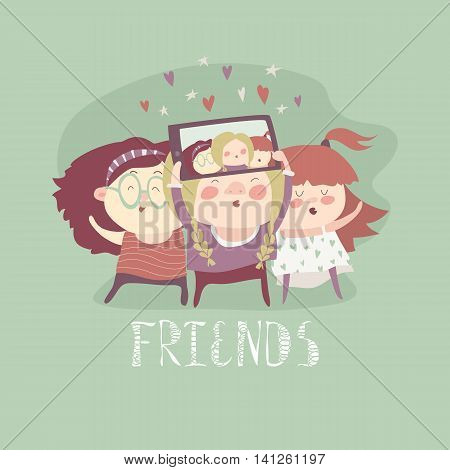 Beautiful girls friends taking selfie photo together with mobile phone camera. Vector illustration