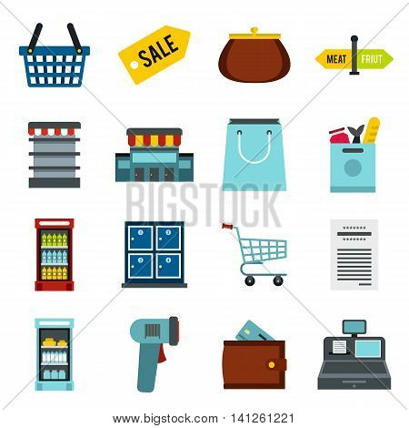 Flat supermarket icons set. Universal supermarket icons to use for web and mobile UI, set of basic supermarket elements isolated vector illustration