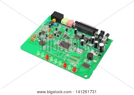 Printed green circuit board from dial-up modem