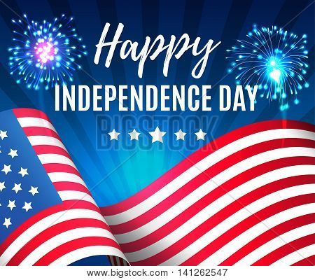 Independence Day 4 Th July. Happy Independence Day Of Usa With Fireworks And Flag , Fourth Of July .