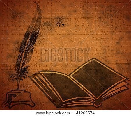 Opened book with quill on the Grunge Background