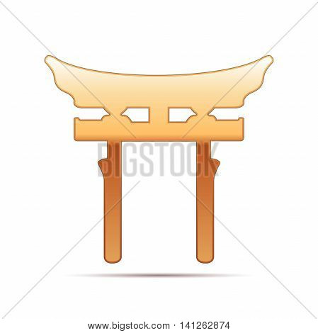 Gold Japan Gate. Torii gate icon on white background. Vector Illustration