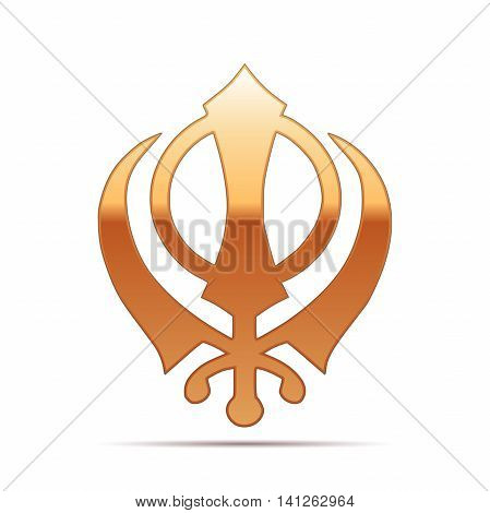 Gold khanda Sikh icon on white background. Vector Illustration