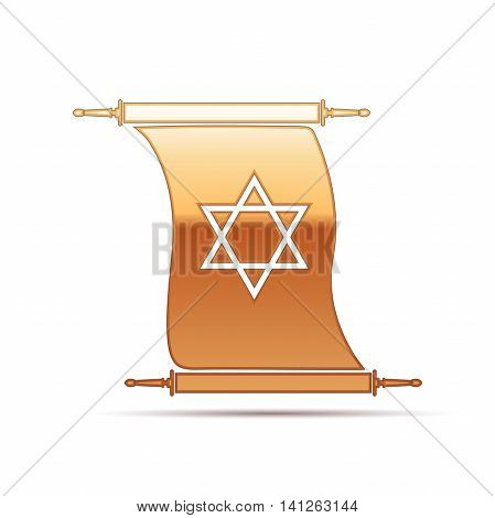 Gold Star of David on scroll icon for white background. Vector Illustration
