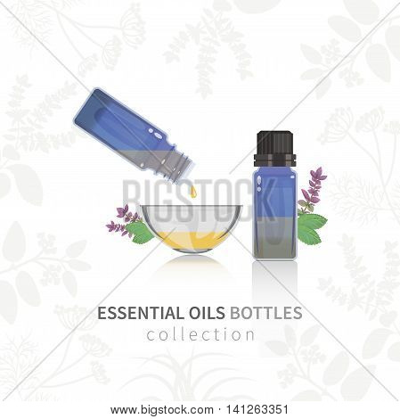 Essential oil blue glass bottles with dropper. All objects are conveniently grouped and are easily editable.