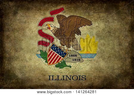 Illinois state flag with distressed worn textures