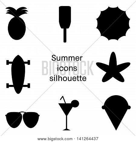 Skateboard, umbrella, ice cream, pineapple, sunglasses, cocktail, starfish. Black simple summer icon vector set isolated on white background