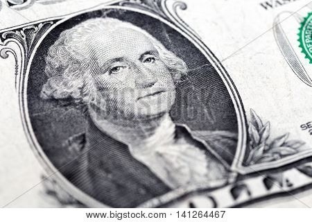 The George Washington face on a one dollar banknote