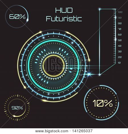 Futuristic graphic user interface. Abstract future concept vector futuristic blue virtual graphic touch user interface HUD.
