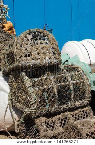 Crab Nets sitting on the dock in Paignton Harbour - Devon