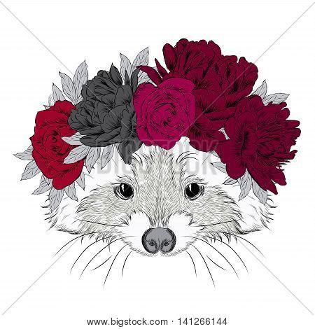 Raccoon in a wreath. Print. Flowers. watercolor, wild, wreath