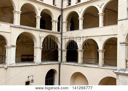 Courtyard of Pieskowa Skala Palace in Poland Europe.
