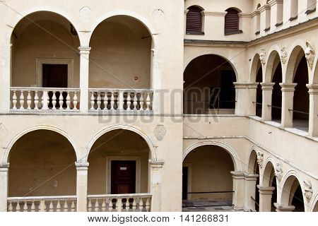 Balcony in old Palace - Pieskowa Skala Poland