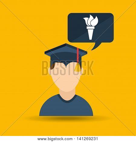 university grad, education ceremony icon, vector illustration