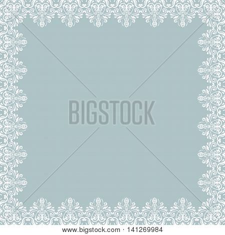 Classic square frame with arabesques and orient elements. Abstract fine ornament with place for text. White square frame. Fine light blue and white greeting card. Square pattern