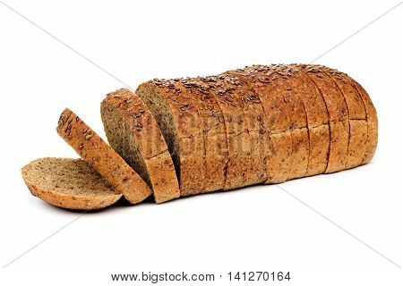 Loaf Of Sliced Whole Grain Bread With Flax Seeds, Isolated On A White Background