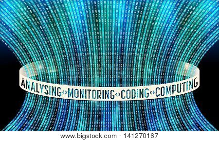 Futuristic vector backdrop and binary code and the words analising monitoring computing coding