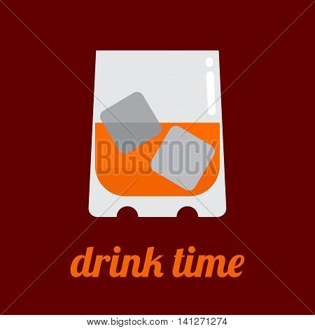 Glass of whisky with ice cubes and Drink Time text. Flat vector icon isolated on a brown background.