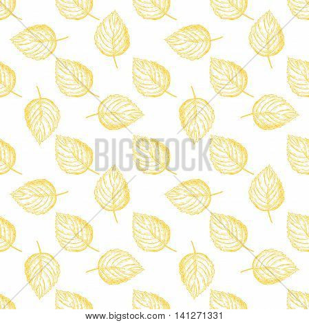 Seamless vector pattern with autumn leaves. Hand drawn detailed botanical background. Yellow leaf drawing. Vintage fall seasonal decor.