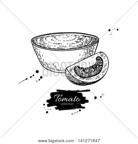 Tomato sauce Drawing. Vector isolated illustration with bowl full of pasta and tomato slice. Great for label poster sign