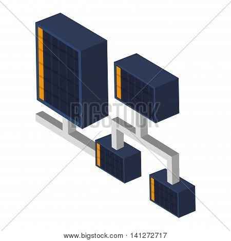 flat design server connection icon vector illustration